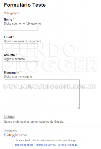 incluir formulario de contato do google drive no blogger