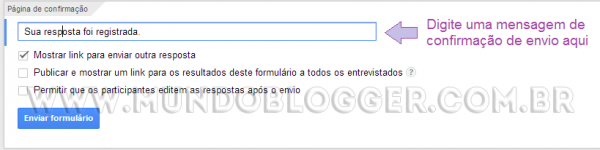 usando formulario do google drive no blogger