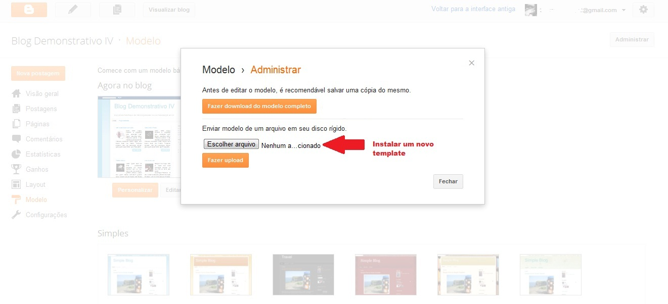 Instalar novo template pela nova interface do Blogger