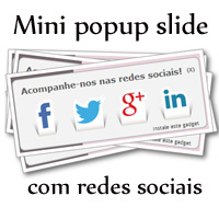 Widget mini popup slide com redes sociais no rodapé do blog