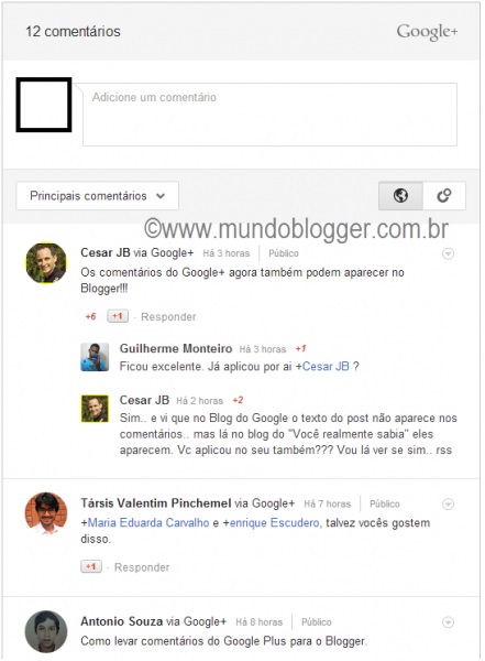 Comentarios do Google+ no Blogger